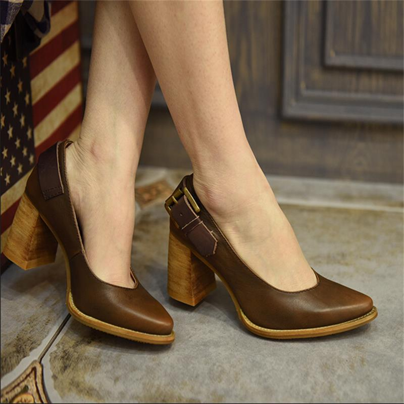 2017 fashion vintage thick heels high heels shoes shallow mouth personality buckle genuine leather women s