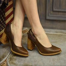 2017 fashion vintage thick heels high heels shoes shallow mouth personality buckle genuine leather women's shoes 29915-6