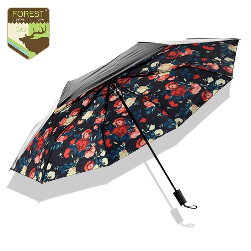 Classical Romantic Rose Umbrellas Multi-function Anti-uv Sun Umbrella Rain  Women Rain Gear Creative Nylon Cheap Folding Parasol a43d30f135f