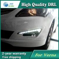 Free Shipping 12V 6000k LED DRL Daytime Running Light Case For Hyundai Verna 2014 Fog Lamp