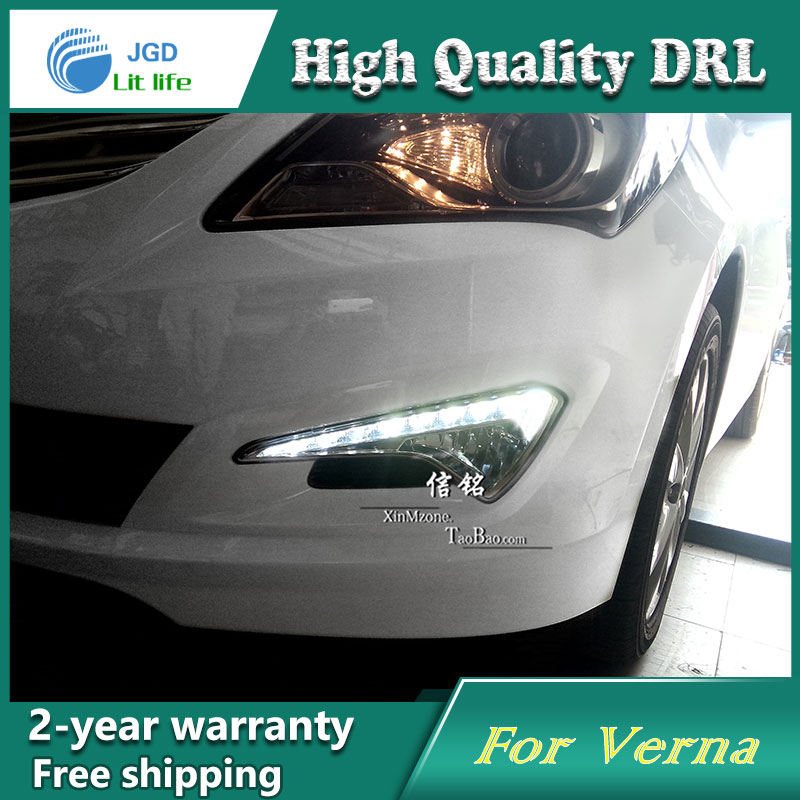 Free shipping !12V 6000k LED DRL Daytime running light case for Hyundai Verna 2014 fog lamp frame Fog light Car styling free shipping 12v 6000k led drl daytime running light case for subaru wrx 2015 2016 fog lamp frame fog light car styling