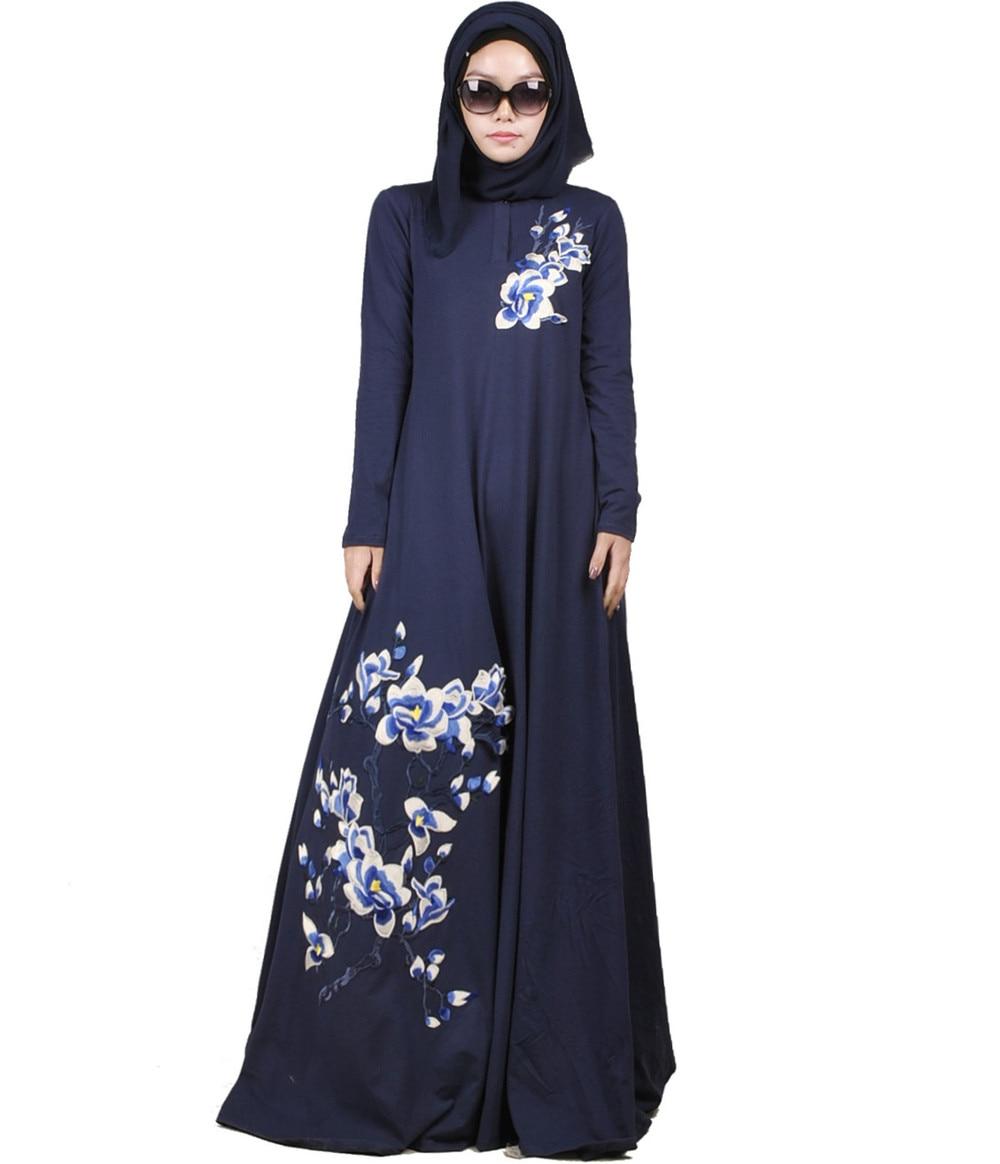 Dubai Hijri 2014 Purple Flower Picturesque Anneyep Printed Flowers Kaftan Muslim Maxi Dress Fashion Abaya Islamic Clothing For Women Jilbab Djellaba Musulmane Print Cotton