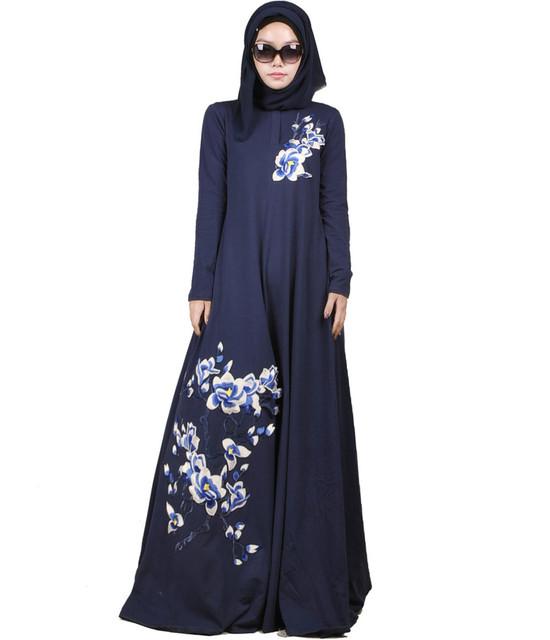 2016 de La Moda de Dubai Abaya Musulmán Ropa Islámica Para Las Mujeres Abaya Musulmán Jilbab Chilaba Musulmane Vestido Estampado de Algodón abaya