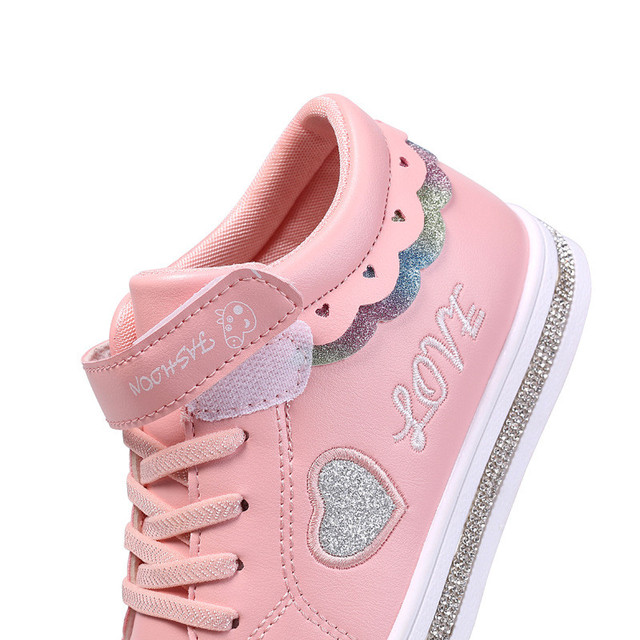 2019 Autumn Girl Toddler Slippers Casual Shoes White Heart Shape Infant Children Sneakers Shoes Breathable 4