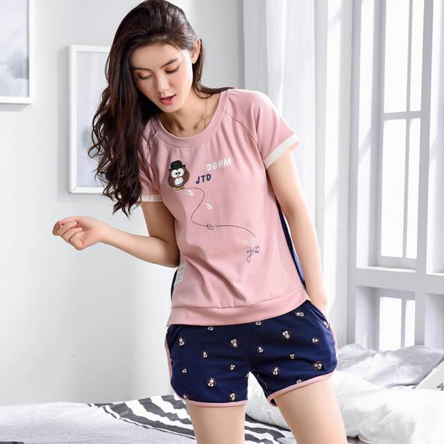 07f89444cc07 € 12.51  100% algodón pijamas establece para las mujeres Primavera Verano  de manga corta Cute Cartoon Pijamas Homewear ropa femenina casa regalos ...