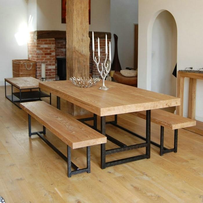 Madera americano vintage mesas y sillas de comedor hierro for Mesa y sillas madera