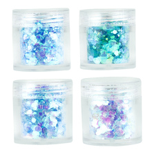4Pots Hexagon Sprinkles Glitter Sequins Blue Series Flakes Chunky DIY Manicure Decorations Nail Art 1 Box=10ML