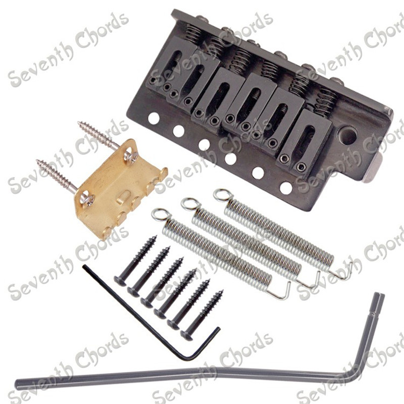 A Set Left handed 6 String Saddle Single Tremolo Bridge System for Electric Guitar Thickened Base Chrome Black Gold a set chrome vintage shape saddle bridge for 5 string electric bass guitar top load or strings through body