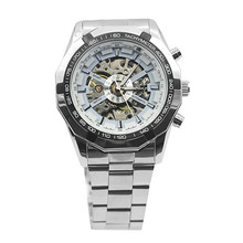 Popular Men's Stainless Mechanical Watch Steel Hand-Winding Skeleton Automatic and Sport Wrist Watch