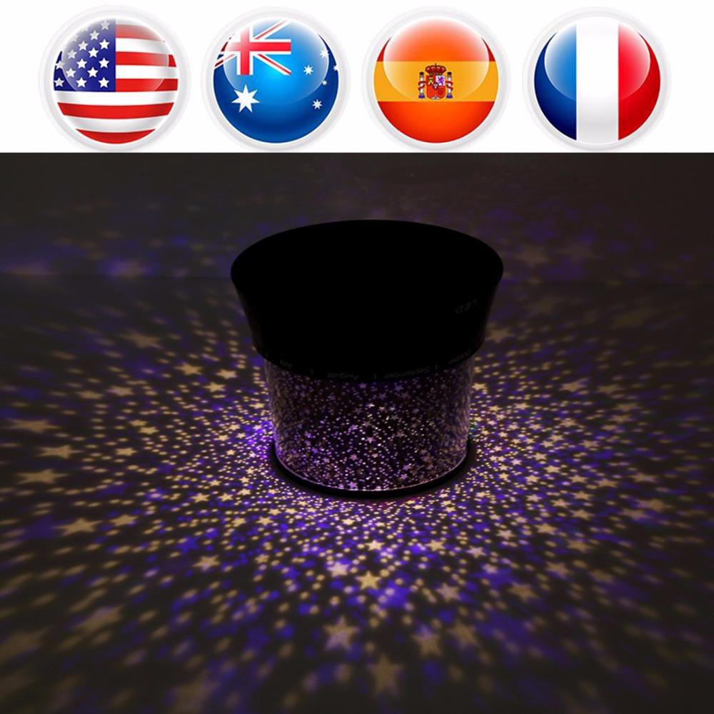 Stars Pattern LED Night Light Romantic LED Projector Lamp Children Sleeping Room Nightlight luminaria Decoration Kids Gift