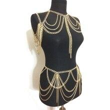 Лидер продаж 2020 модные ювелирные изделия аксессуары панк тяжелый металл Многослойные кисточкой Золотая цепь для тела длинное колье для женщин