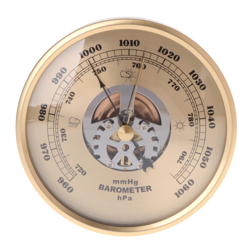 108mm Wall Mounted Barometer Perspective Round Dial Air Weather Station MmHg/hPa