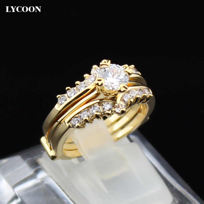 Newest two in one set rings plated real yellow gold Crystal wedding Rings for luxury party rings prong setting Cubic Zirconia
