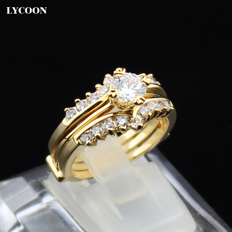 Terbaru dua dalam satu set cincin, Berlapis emas kuning nyata kristal cincin kawin untuk cincin pesta mewah, Pengaturan cabang zirkonia kubik