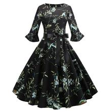 new 2019 style Hepburn wind restoring ancient ways is printed in the sleeve splicing dress sends ribbons  floral china fashion