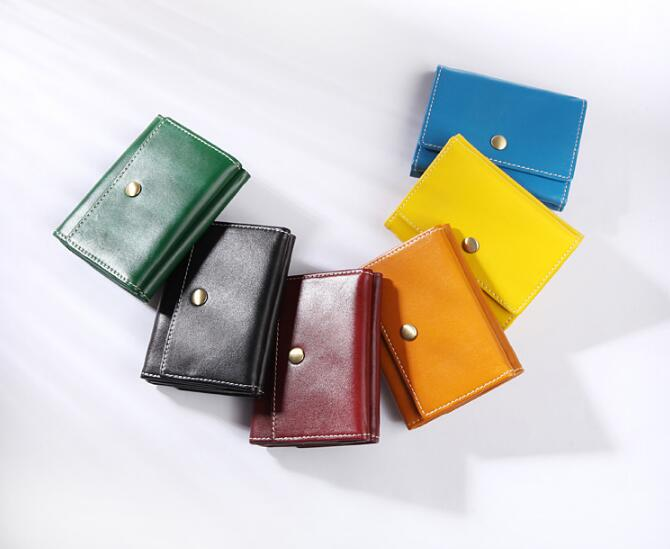 genuine leather handmade small wallet simple solid short purse