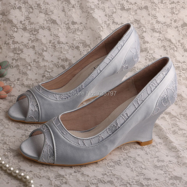 Customize Handmade Silver Dress Shoes Open Toe Wedge Heel