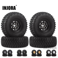INJORA 1.55 Wheel Tires & 1.55 Beadlock Metal Rim for RC Crawler Car D90 TF2 Tamiya CC01 LC70 MST JIMNY Axial AX90069