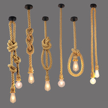 Vintage Rope Pendant Light Lamp Loft Creative Personality Industrial Lamp E27 Edison Bulb American Style For Living Room vintage hemp rope pendant lights loft industrial style classical indoor lighting lamp diy for edison bulb e27 rope light base