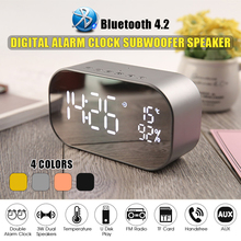 4 Colors Bluetooth Speaker Alarm Clock FM Radio Wireless Stereo Dual Units LED Display Mirror Music Box Subwoofer Portable Audio