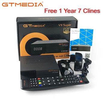 GTMedia V9 Super Satellite Receiver Bult-in WiFi with 1 Year Spain Europe Cccam Cline Full HD DVB-S2/S Freesat V9 Super Receptor