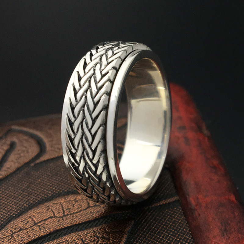 Woven Band Rotate Spinner Ring Men 100% Real 925 Sterling Silver Ring Simple Band Cool Mens Thai Silver Jewelry Free Gift Box