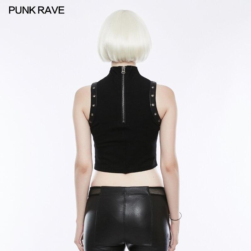 T Sans shirt Rave Fashion Party Court Sexy Club D'été Femmes Manches Gothique Tops Punk Noir Gilet 4AOq16n6