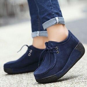Image 5 - Kobiety płaskie buty ze skóry naturalnej platformy mokasyny kobieta pnącza zasznurować mokasyny do jazdy kobiet przypadkowi buty Sapato Feminino 2020