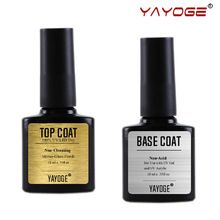 Yayoge 2in1 10ml tops capa base Bonder Primer Non Cleansing Soak off para uñas de gel UV laca de arte polaco No ácido de larga duración