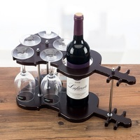 Wooden Violin Wine Bottle Stand and Goblet Glass Hanging Rack Decorative Drinkware and Barware Gadget Craft Ornament Accessories