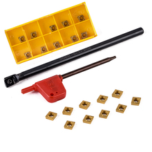 1pc S06K-SCLCR06 Turning Tool Holder 6x125mm Screw Type + 10Pcs CCMT060204 Inserts with T8 Wrench For CNC Lathe Tool