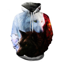 2018 printing AliExpress explosion models men's sweater wolf head hoodie men's loose hood BBY28