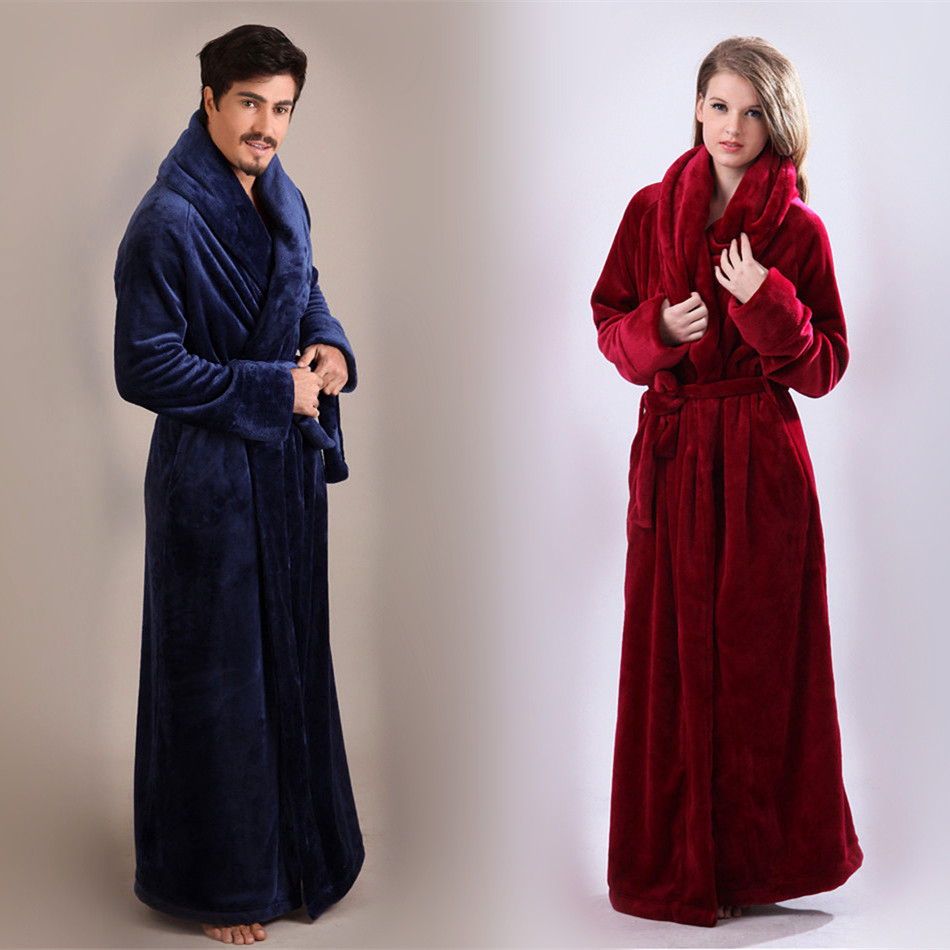 Women's Long Bathrobe Microfleece Flannel Robe Ankle-Length Home Wear Clothes Lovers Sleepwear Nightgown Warm Bath Robes