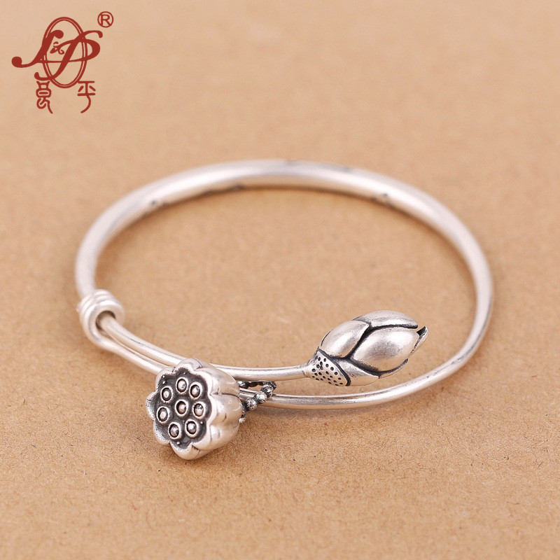 Lotus Sutra 990 Sterling Sterling Silver bangle Tibetan Buddhist scriptures language female hand jewelry wholesale bracelet nehzy lotus sutra 990 silver bracelet bracelet tibetan buddhist scriptures language female hand jewelry wholesale bracelet