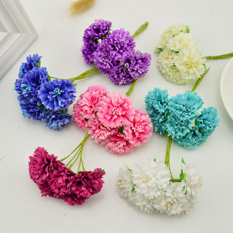 6 pcs artificial flowers scrapbooking diy decorative