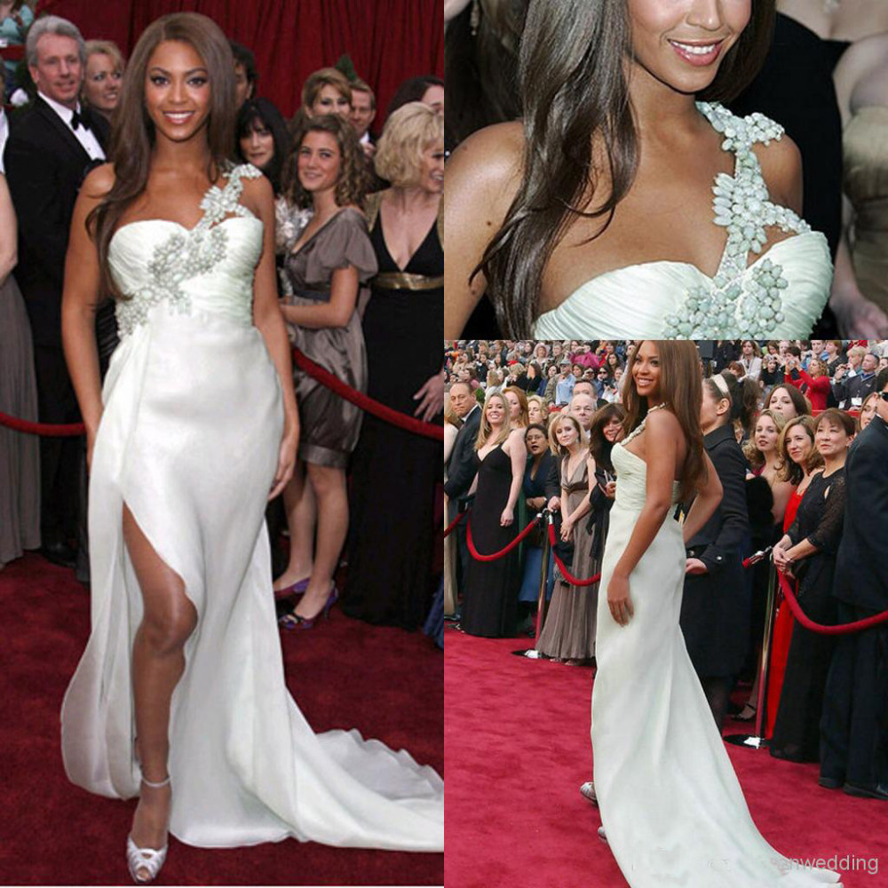 newest a line one shoulder party prom gowns chiffon beaded crystals beyonce long dress party evening elegant vestido longo