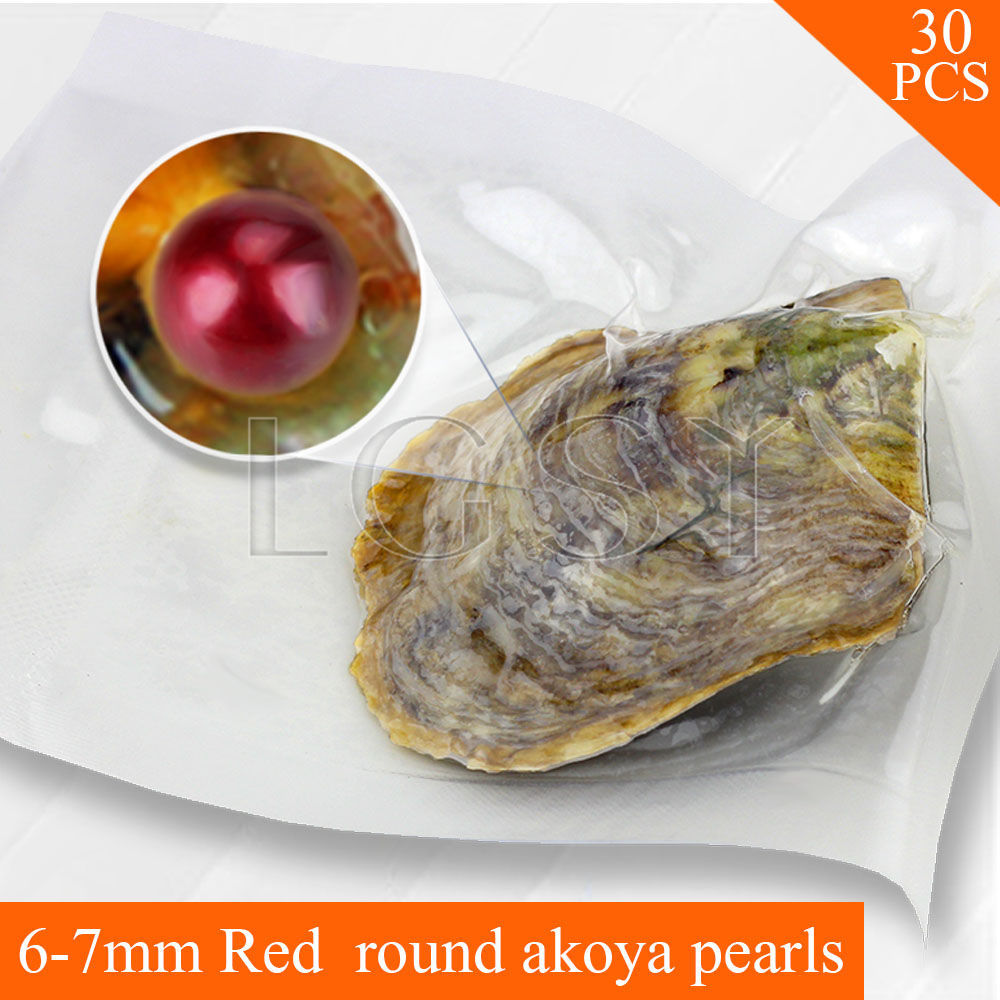 Bead wholesale Red pearls 30pcs vacuum-packed oysters with 6-7mm round akoya pearls , UPS free shipping cluci free shipping get 40 pearls from 20pcs 6 7mm aaa blue round akoya oysters twins pearls in one oysters