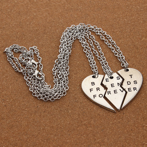 New Collier Choker Necklace Heart Pendant 3 Pieces Broken Best Friend Forever Necklace Women Necklace Jewelry Collares Mujer