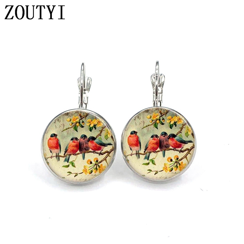 New/glamour retro fashion friendship bird photo, convex and concave glass vintage silver jewelry female earrings.