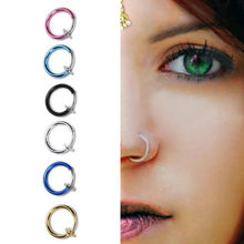 1pcs sell New Fashion Unisex Tongue Ring Goth Punk Clip On Fake Piercing Body Nose Lip Rings Hoop Ear Tongue Ring(China)