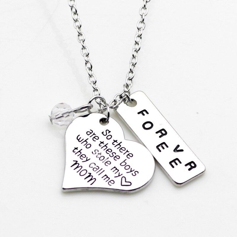 Высокое качество сердце ожерелье ручной печатью так вот этот мальчиков кто украл мое сердце, они называет меня мамой навсегда ожерелье