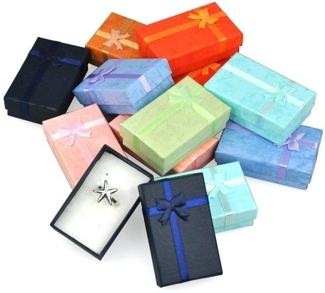 32 sztuk pudełka na prezenty papierowe na opakowanie na biżuterie 5*8*2.5cm pierścień kolczyki naszyjnik uchwyt wyświetlacz nowy rok boże narodzenie/prezent ślubny