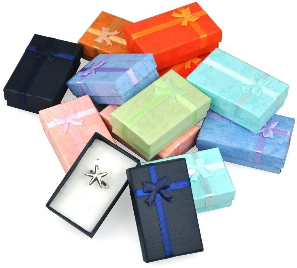 32Pcs Paper Gift Boxes For Jewelry Packaging 5*8*2.5cm Ring Earrings Necklace Holder Display New Year Christmas/Wedding Gift