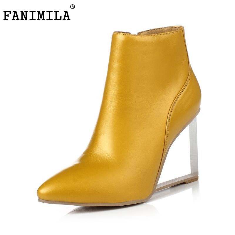 FANIMILA womens shoes transparent wedges ankle boots pointed toe high heels boots winter fashion black shoes