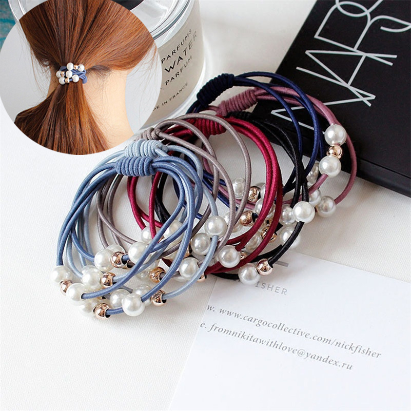 Ruoshui Pearl Elastic Hair Bands For Woman Girls Hair Ties Ponytail Holder Rubber Band Hair Gum Scrunchies Hair Accessories Rope