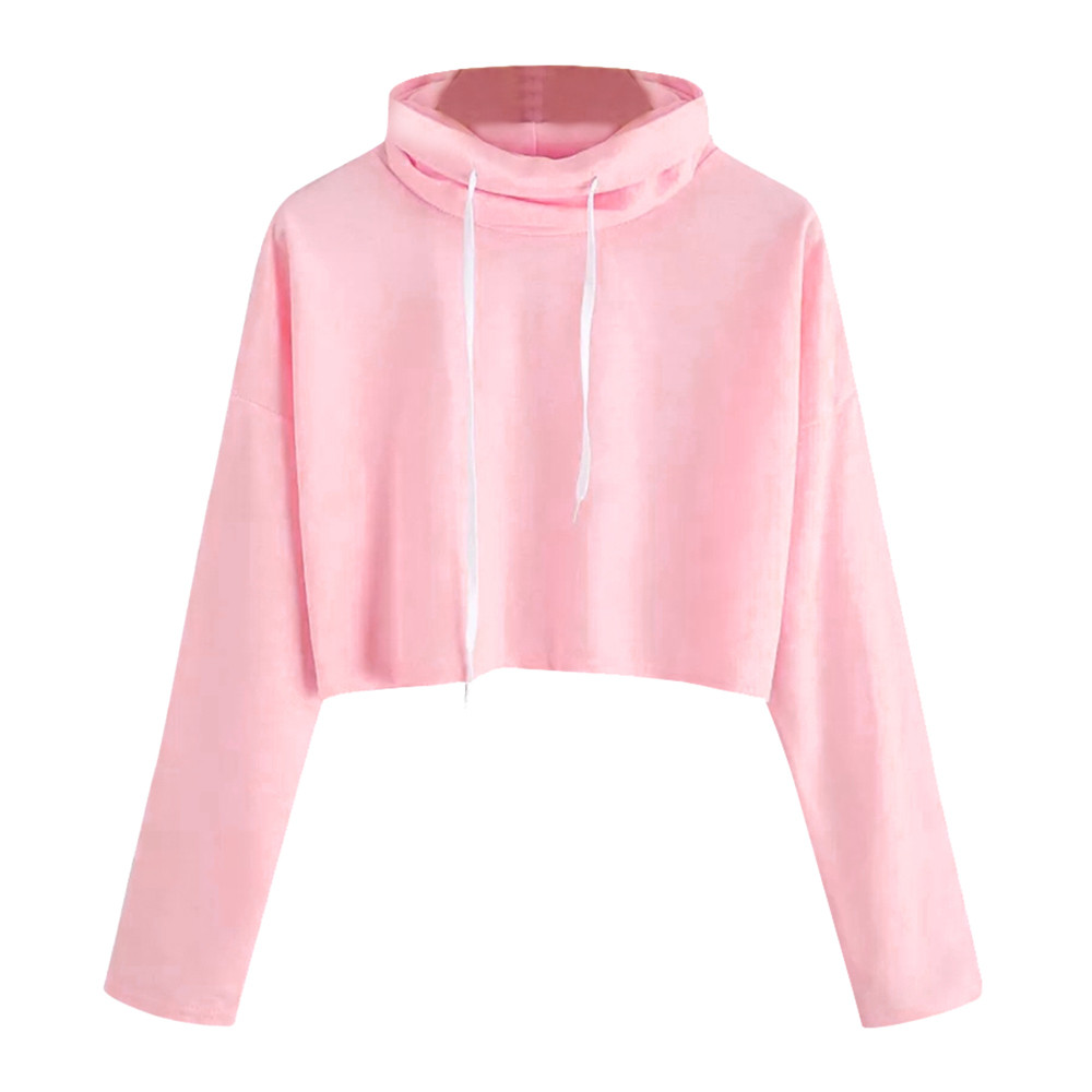 d7dc99774d0 Pink Cropped Sweatshirt Pullover Women Crop Tops Outwear Turtleneck High  collar Dancer Clothing Pink Kpop Girl Clothing &420