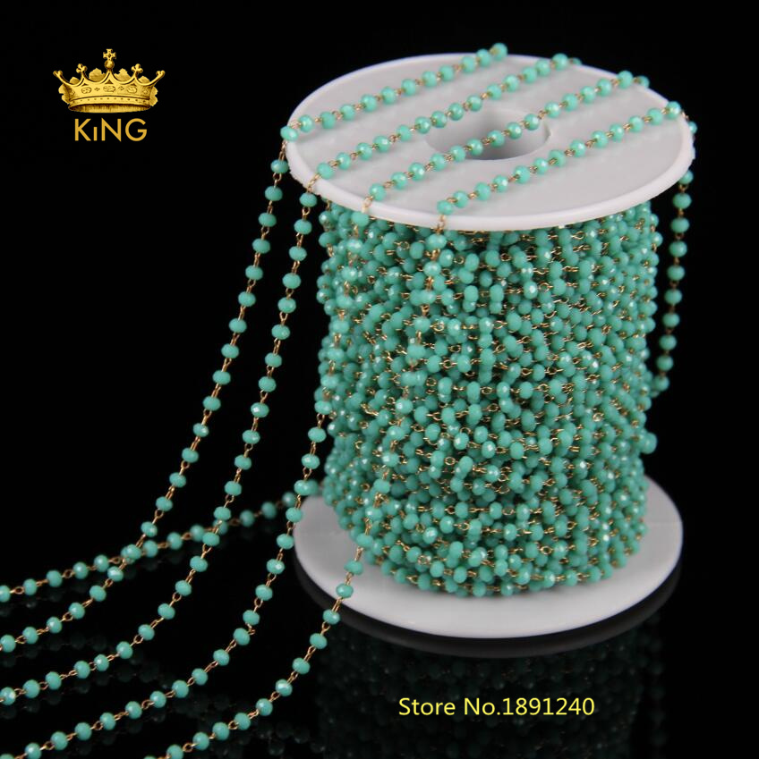 5Meters Natural Green Glass Faceted Rondelle Chains 2x3mm Beads Antique Bronze Wire Wrapped Rosary Chains Necklace