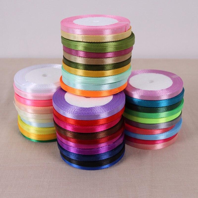 6 мм 60 цветов выберите 25 ярдов/roll 6 мм Ширина шелковые, атласные ленты Свадебная вечеринка украшения подарок корабля Вышивание ткань ленты C
