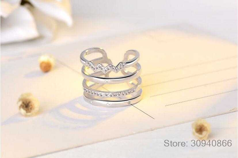 Korean Style 925 Sterling Silver Opening Rings Personality Exaggerated Multi-layer Mosaic Zirconia Rings For Women S-R308