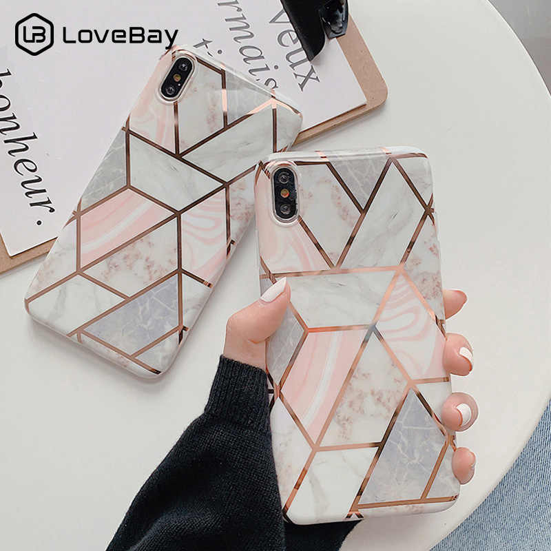 Lovebay Geometric Marble Stone Texture Case For iPhone 7 8 6 6S Plus X XR XS Max Plating Phone Case Soft IMD Silicone Back Cover